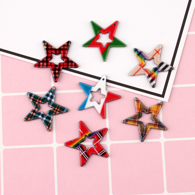 Kawaii Colorful Hollow Out Star Charms 27*28mm Planar Resin Cabochons Ornament Accessories Earring Necklace Jewelry DIY 10pcs