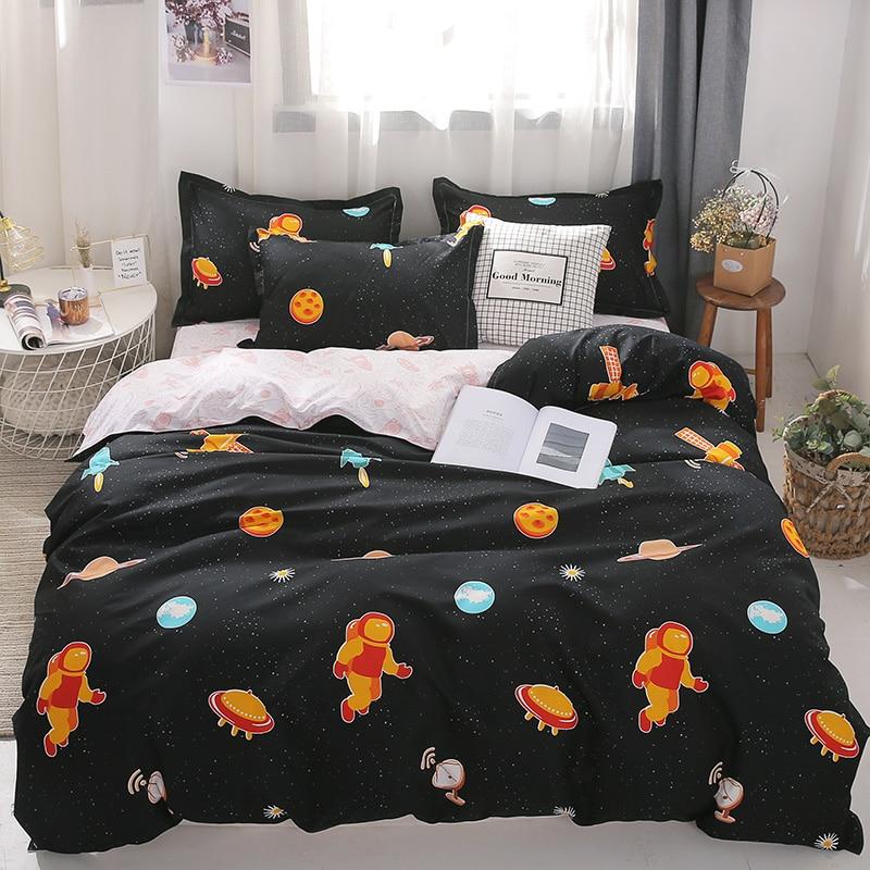Image 4 - Cotton Bedding Set 4pcs With Duvet Cover Bed Sheet Pillowcase  Children Stripe Bed Linen Set King Queen Full Twin SizeBedding Sets