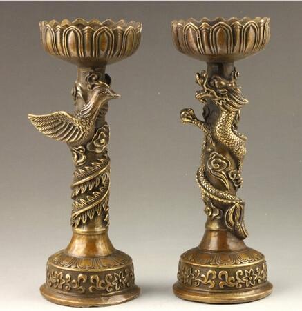 Statue de paire de chandelier en Bronze Dragon et phénix fait main chinois