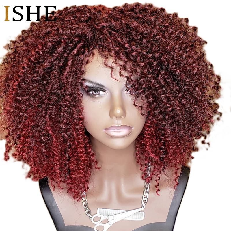 250% Density Afro Kinky Curly 99J Red Wig 13x6 Lace Front Human Hair Wigs Pre Plucked Lace Frontal Wig For Women Remy Black Hair