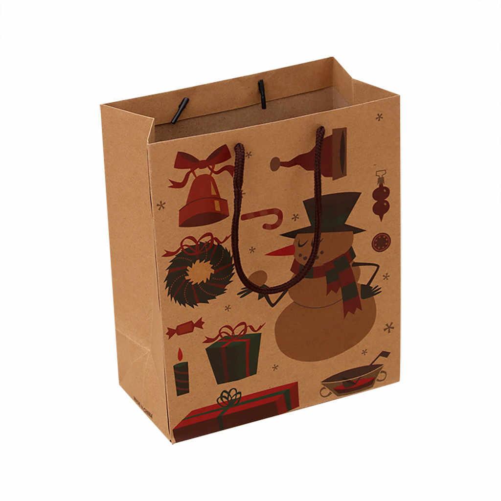 חג המולד מתנת שקית נייר שקית אריזת קראפט נייר תחתון Tote תיק עבור בית סעיף סנטה החג שמח מסיבת קישוטים