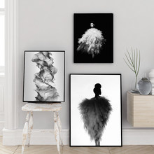 Fashion Wall Art Black White Print Girl In Grey Dress Gioia Painting Sexy Female Poster Canvas Art Beauty Modern Home Decoration