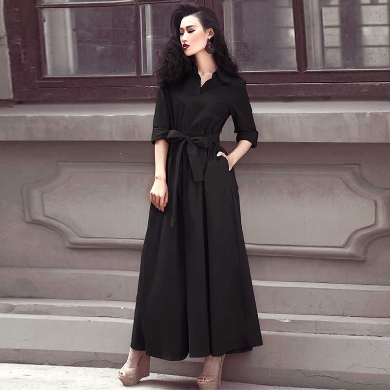 Kobiety długa, maksi sukienka moda wiosna lato czarna koszula sukienka eleganckie sukienki damskie z długim rękawem Party Vestido 09881