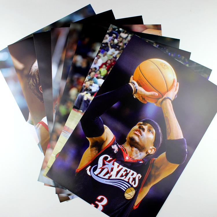 NBA Basketball Star Allen Iverson Large Poster AI Little Moxa 8-Adhesive Paper Mural Dormitory Wall Stickers