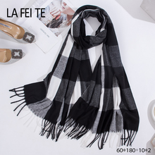 Winter Plaid Cashmere Scarf  Women Man Stole Thick Large Blanket Wrap Shawl Men Scarves For Ladies 2019