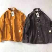 Spring and Autumn Men's And Women's Loose Corduroy Tooling Shirt Multi-Pocket Retro Couple Tops 2021 New Cotton% High Quality