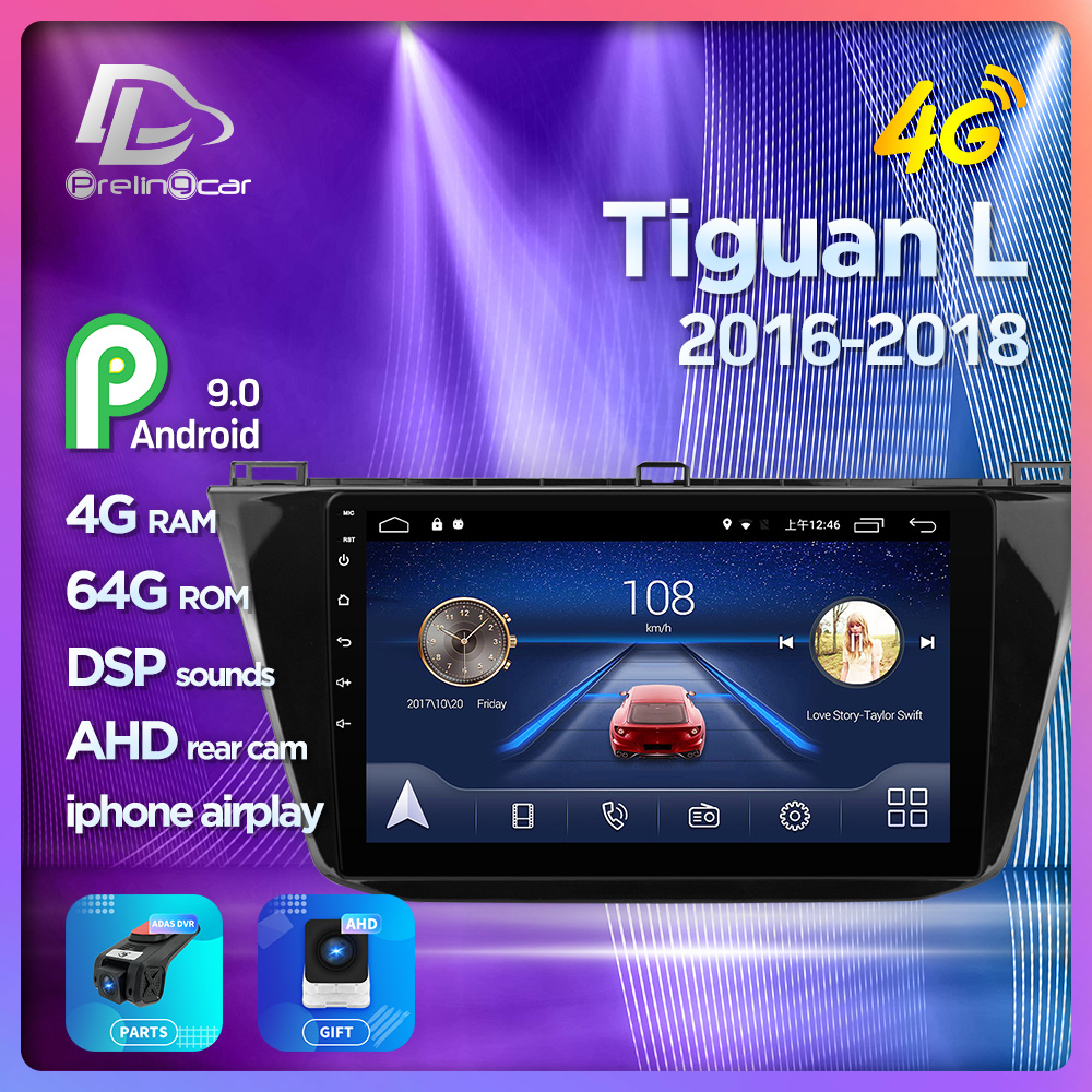 4G Lte Android 9.0 Car multimedia navigation system GPS player For tiguan L 2016 2017 2018 years IPS screen Radio stereo image