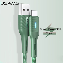 USAMS Smart Power Off Type C Charging Cable Usb C Charge Cable For Huawei Mate 30 P30 P20 Xiaomi Samsung Type-c Cable Data Cable
