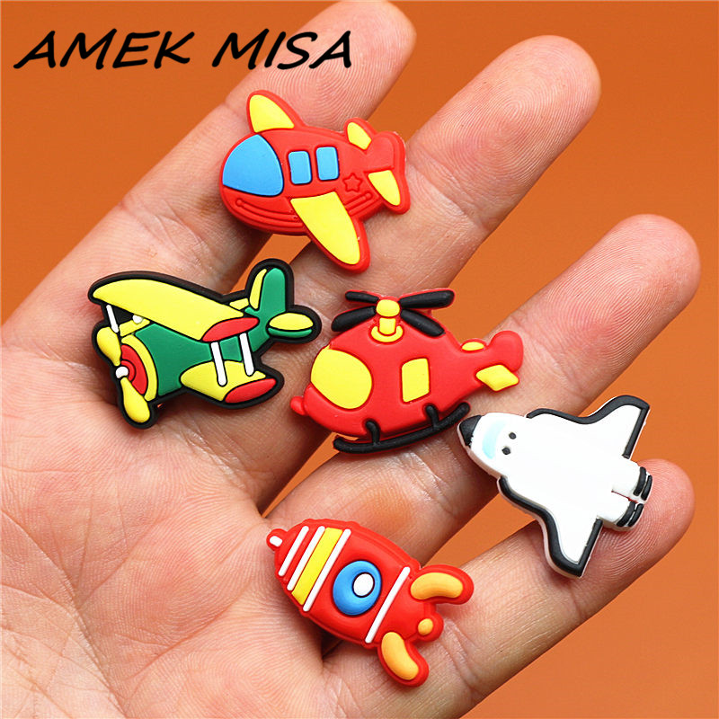 Single Sale 1pcs Shoe Charms Helicopter/Airliner/Rocket/Glider/Space Shuttle Shoe Accessories Decorations Fit Croc JIBZ Kid's