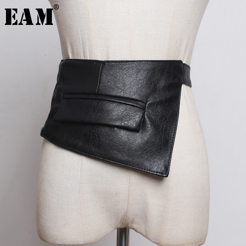 [EAM]  Pu Leather Black Pocket Bandahe Long Wide Belt Personality Women New Fashion Tide All-match Spring Autumn 2020 1K968