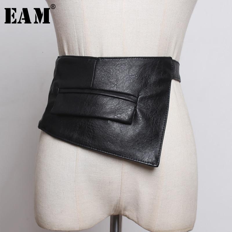 [EAM]  Pu Leather Black Pocket Bandahe Long Wide Belt Personality Women New Fashion Tide All-match Spring Autumn 2020 1K968