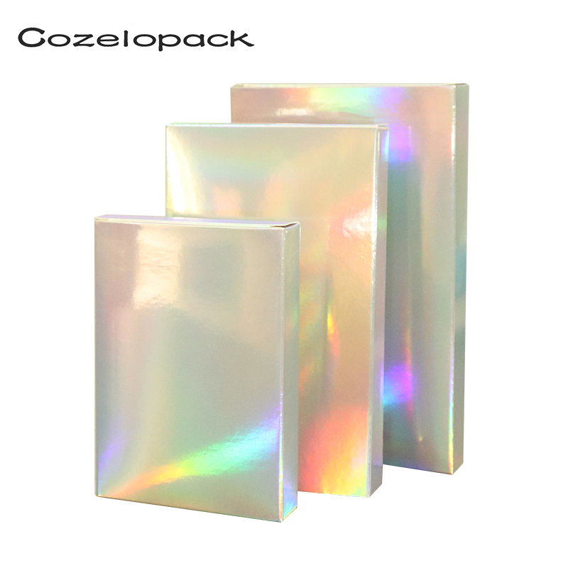 10PCS Holographic Foil Treat Boxes Laser Paper Box Gift Box Silver Cosmetics Packaging Party Favor Box Wedding Candy Cartons