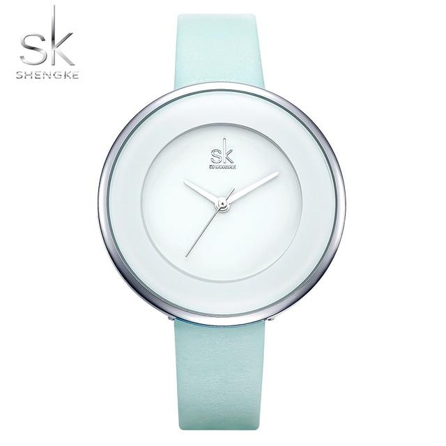 Женские часы с голубым ремешком SHENGKE
