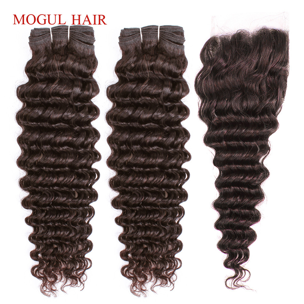 MOGUL HAIR Dark Brown Color 2 Peruvian Deep Wave Hair Bundles With Closure Free Middle Part Non Remy Human Hair Weave