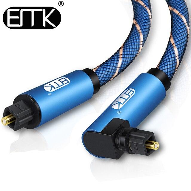 EMK 90 องศาสายเคเบิลมุมขวาเสียงดิจิตอล SPDIF Fiber Toslink CABLE พร้อมแจ็คเก็ตถัก 1 M 2 M 3 M 5 M
