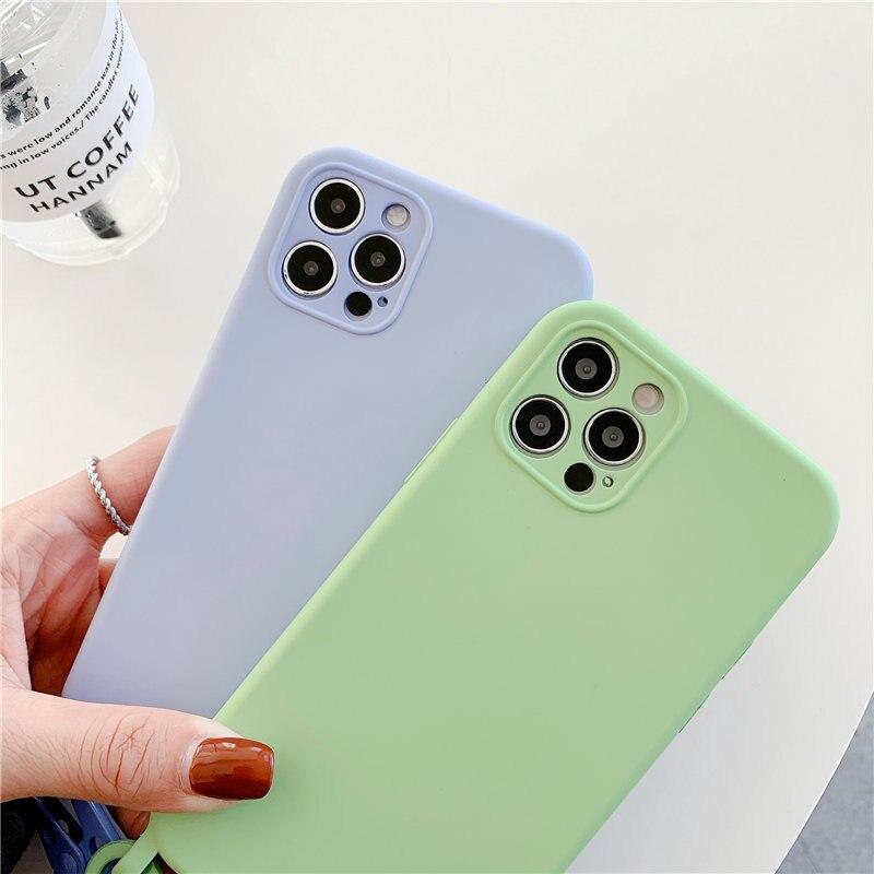 Funda de silicona líquida para teléfono móvil iPhone, carcasa Original con correa de cordón para iPhone 12 11 Pro Max XS XR X 7 8Plus SE 2020 4