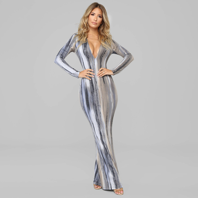 BOOFEENAA Stripe Tie Dye Print Sexy Maxi Dress Spring 2021 Casual Long Dress Women Nightclub Long Sleeve Bodycon Dresses C70CC31 5