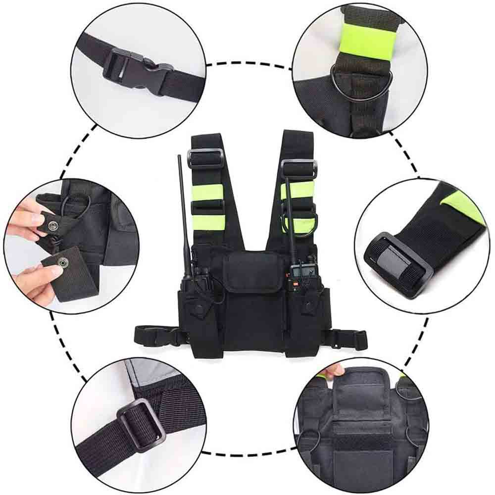 Heavy Duty Work Tool Belt Bag Suspender Adjustable black chest Rig Bag with reflective strips tactical vest bag