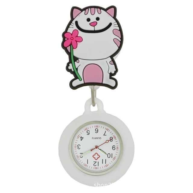 3d dos desenhos animados flor animal retrátil enfermeira médico relógio de bolso fácil puxar fivela hospital unisex quartzo pendurar broche relógio