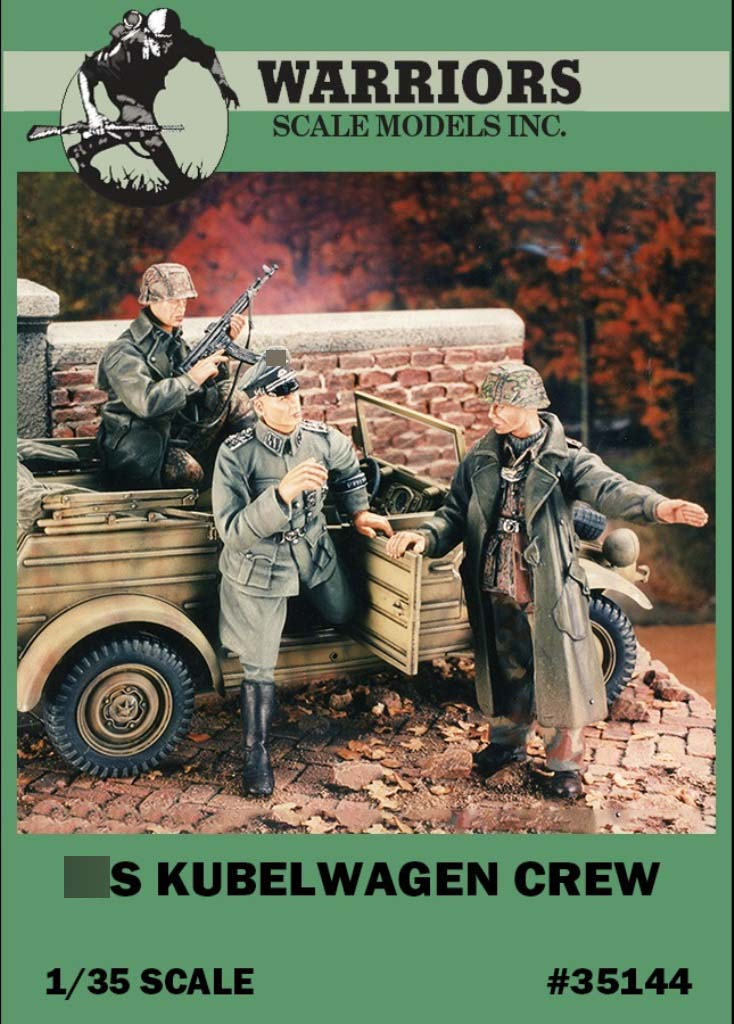 1/35 WWII German Kubelwagen Crew Resin Kits (3 Figures/Set,no Car) Box Packing Warriors #35144