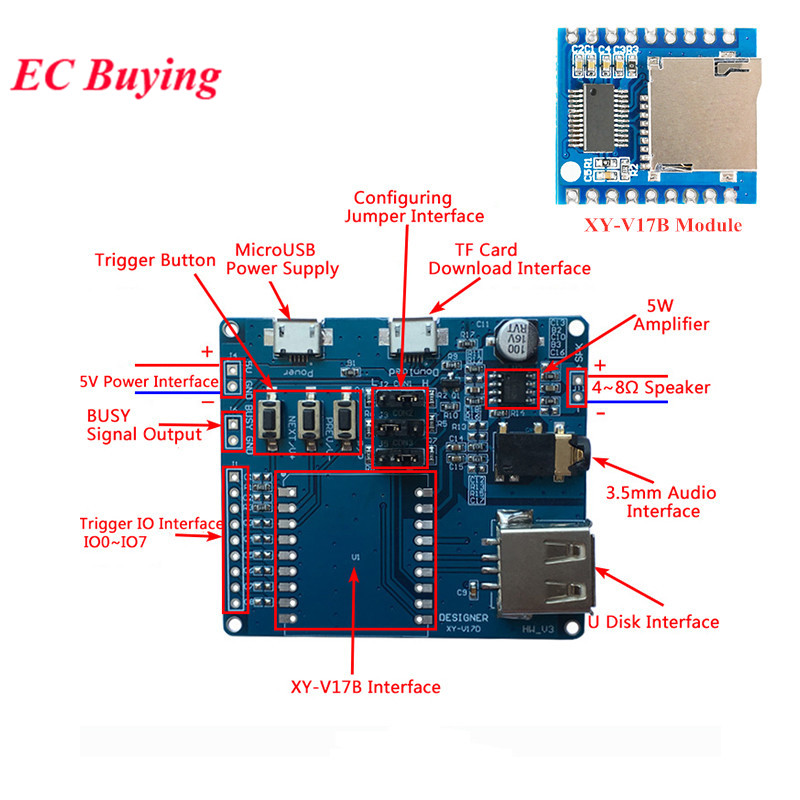 MP3 Player Module XY-V17B Serial Voice Module Development Board Voice Controller Single Bus/IO Control/Support Card U Disk image