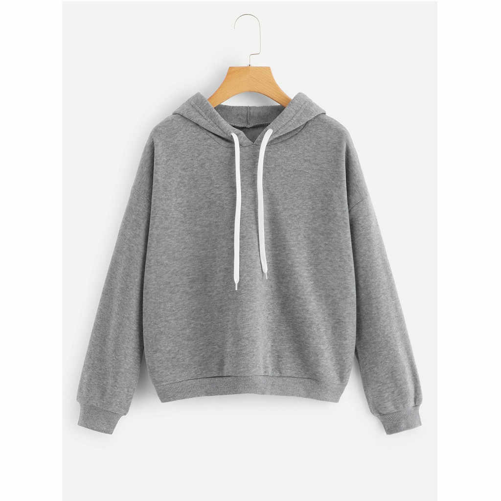 Women Short Hoodies High Waist Casual Hooded Sweatshirts Tops Winter Long Sleeve Sport Pullovers Teen Girls Skateboard Blouse