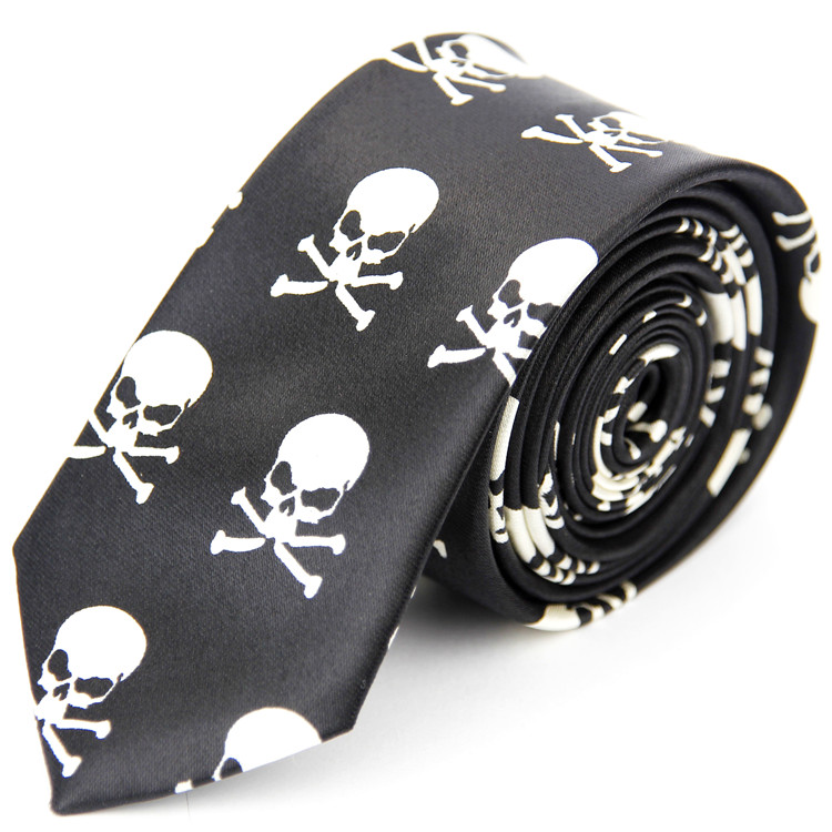 New Ties For Men 5cm/2inches Mens Wedding Accessories Printed Pattern Casual Slim Necktie Skull Color Black White Red Tie