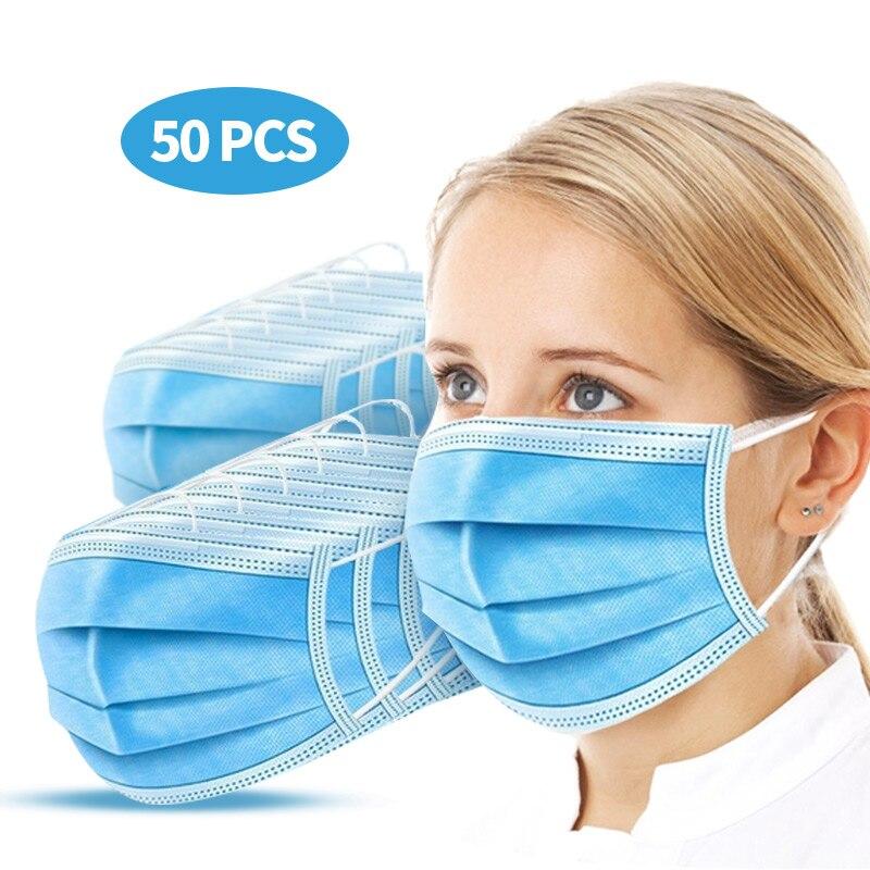 50Pcs 3-Ply Mask PM2.5 Masks Prevent Anti Virus Anti-Dust Disposable  Face Masks  Coronavirus Fast Shipping