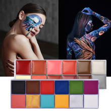 Flash Tattoo Face Palette Body Paint Make Up Oil Painting Art Halloween Party Fancy Waterproof Beauty Makeup Brush Eyeshadow Kit все цены