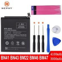 Nephy מקור טלפון סוללה עבור שיאו mi אדום mi הערה 4 4X3 פרו 3S 3X 4X mi 5 BN41 BN43 BM22 BM46 BM47 מצבר החלפת כלים