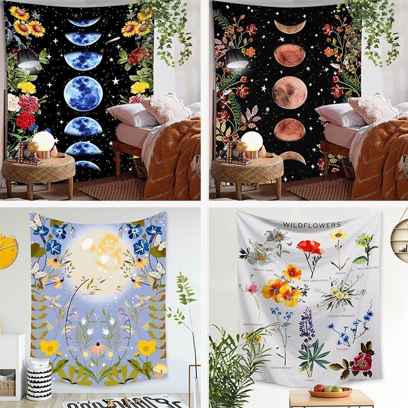 Moon Flower Tapestry Vintage Bohemian Wall Cloth Home Bedroom Decoration Background Cloth Wall Art Painting 95*73cm