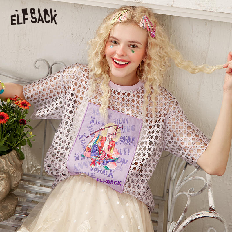 ELFSACK Purple Graphic Print Hollow Out Casual See-Through Blouse Women 2020 Summer ELF Letter Embroidery Korean Girly Daily Top
