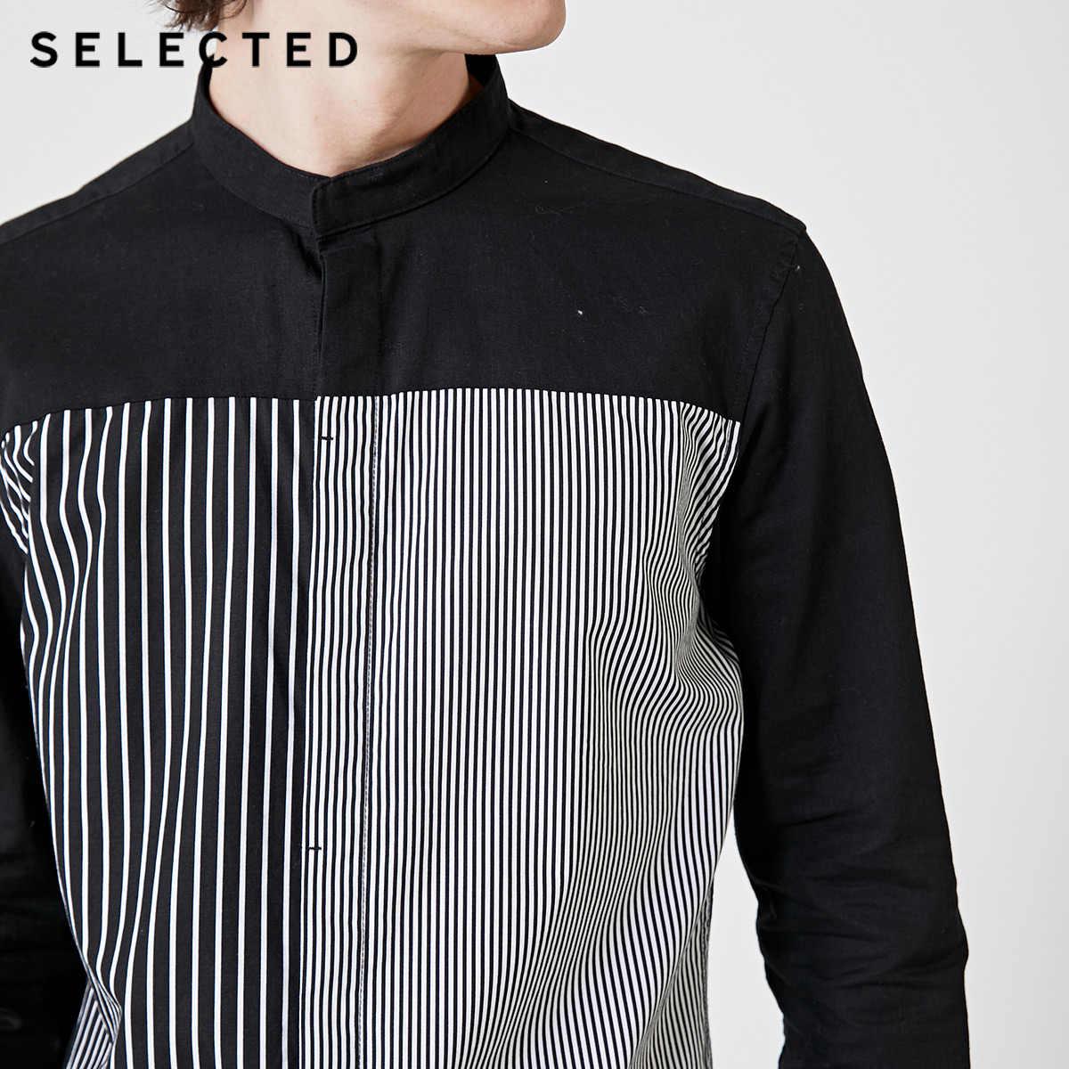 SELECTED 남성 슬림 피트면 & 린넨 스트 라이프 긴팔 셔츠 S | 419105559