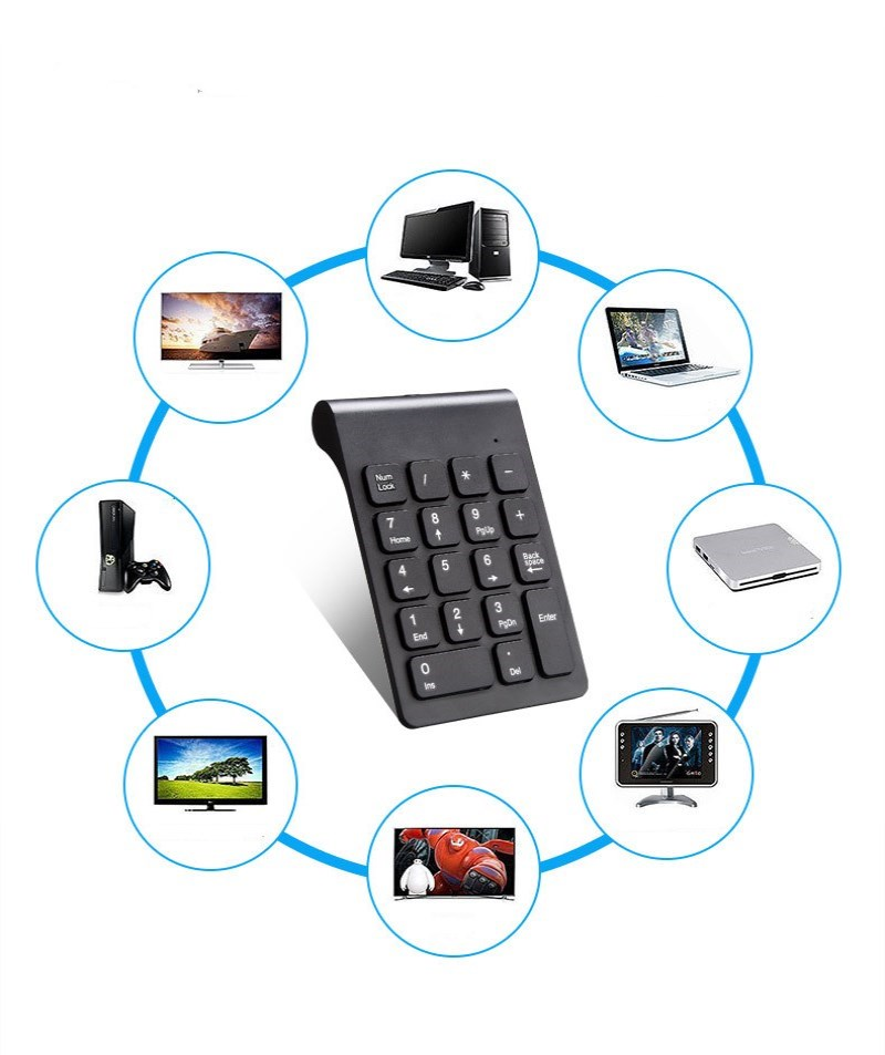 Digital Keyboard 2.4G Wireless New Portable Mini Number Keypad USB Number Pad 18 Keys  For Office Laptop PC Notebook Desktop