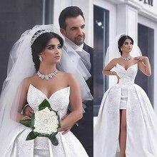 Винтажное бальное платье Свадебные платья Бисероплетение атласное без рукавов Часовня Поезд Милая Свадебные платья