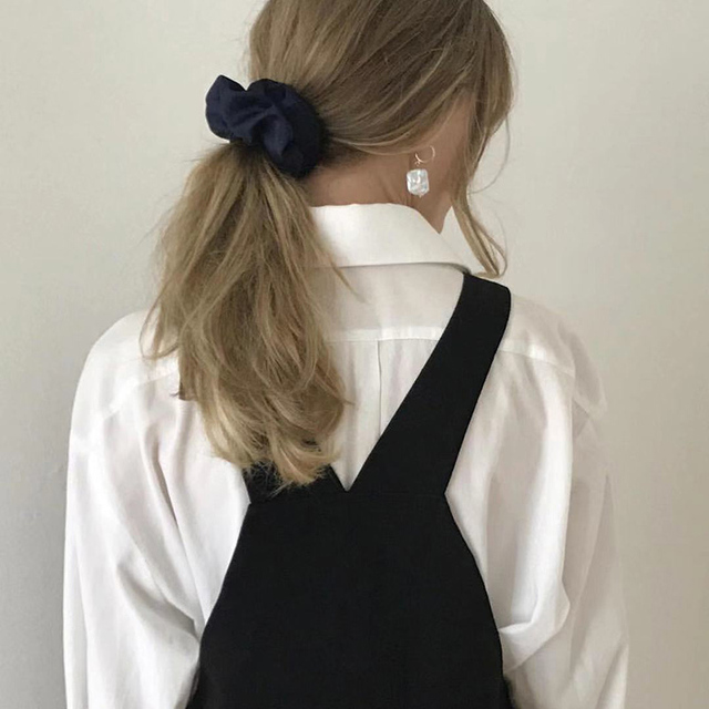 1PC Satin Silk Solid Color Scrunchies Elastic Hair Bands 2020 New Women Girls Hair Accessories Ponytail Holder Hair Ties Rope|Women's Hair Accessories|   -