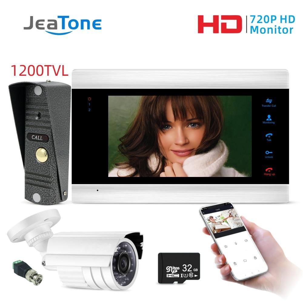 Jeatone 7'' WiFi IP Video Door Phone Intercom System+Waterproof 1200TVL Mini Doorbell And CCTV Camera , Support Remote Unlock
