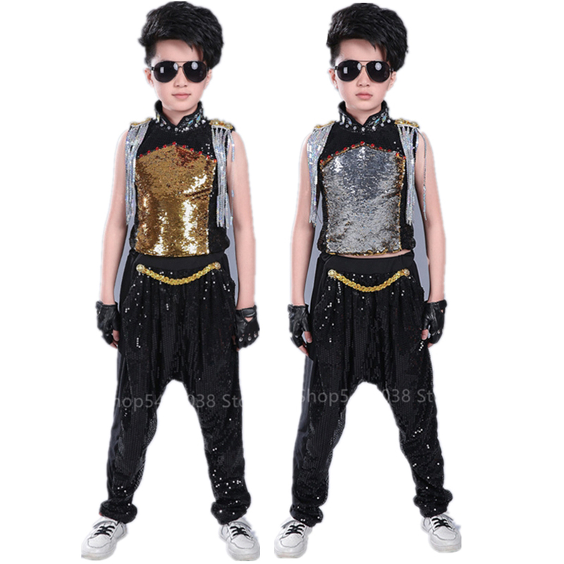 Children Sequins Jazz Dance Costume Modern Baby Girl Boy Competition Fringed Kids Hip-hop Stage Performance Clothing HipHop Drum