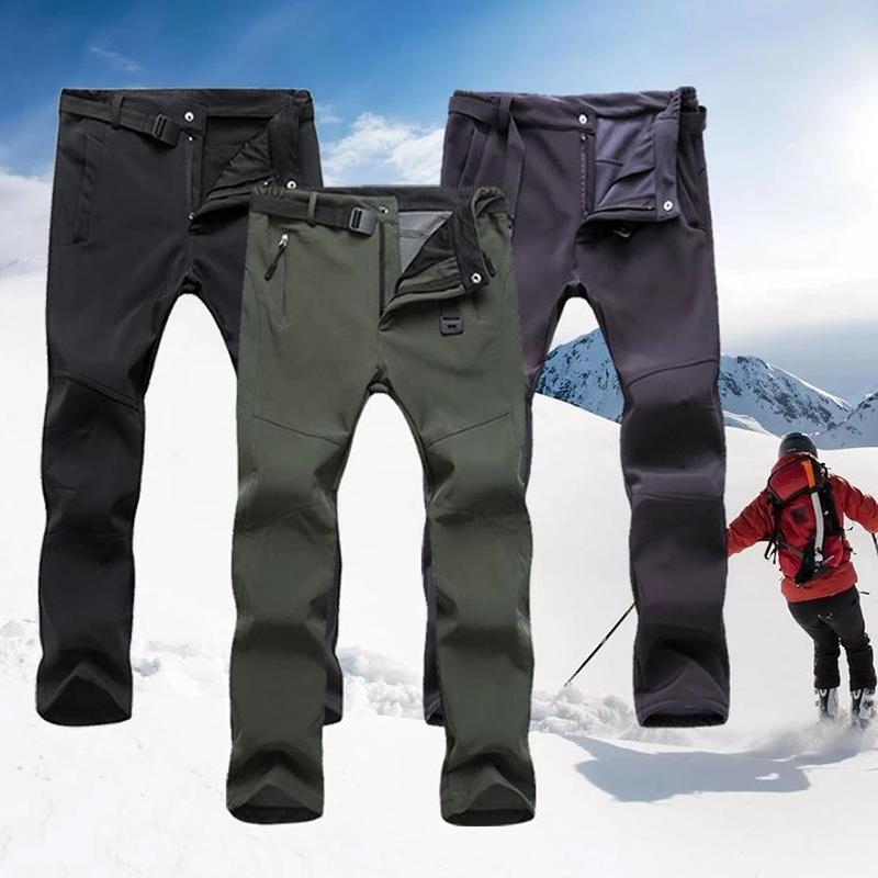 Outdoor Camping Hiking Pants Fleece Lined Thickend Warm Windproof Skiing Trousers For Men Women H9