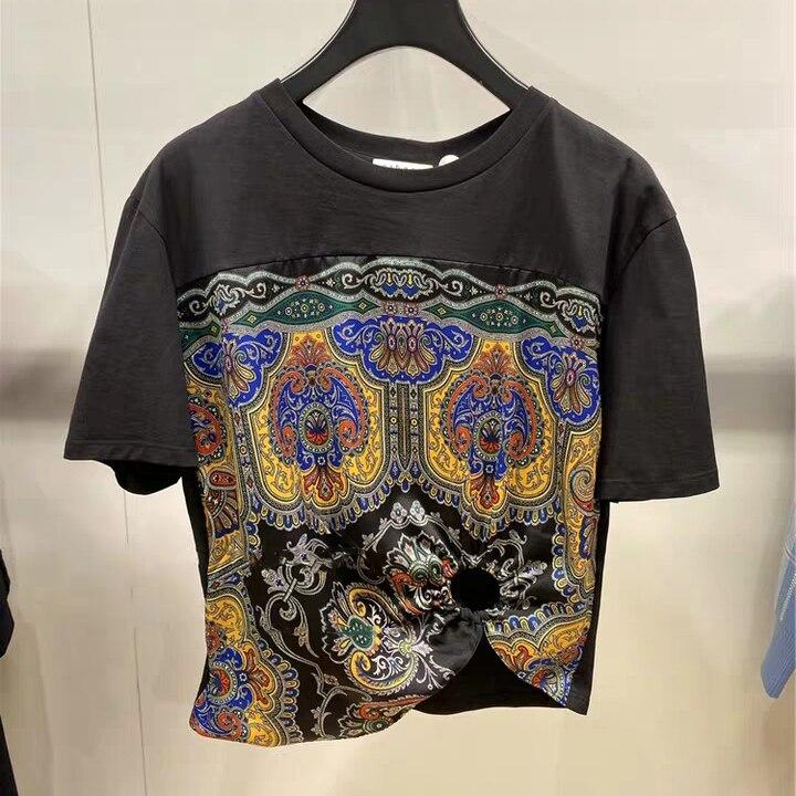 Pattern Printed Women T-shirt Short-sleeved O-neck Stitching Simple Wild Female T-shirt 2020 Summer New