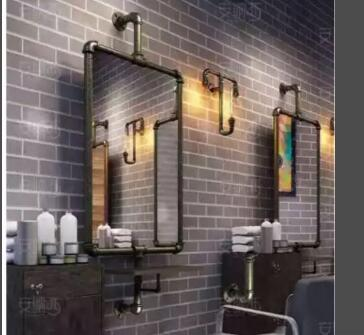 Retro Industrial Hairdresser, Mirror Stand, Water Pipe, Iron Hair Salon, Haircut, Floor Mounted, Double Single-sided Mirror