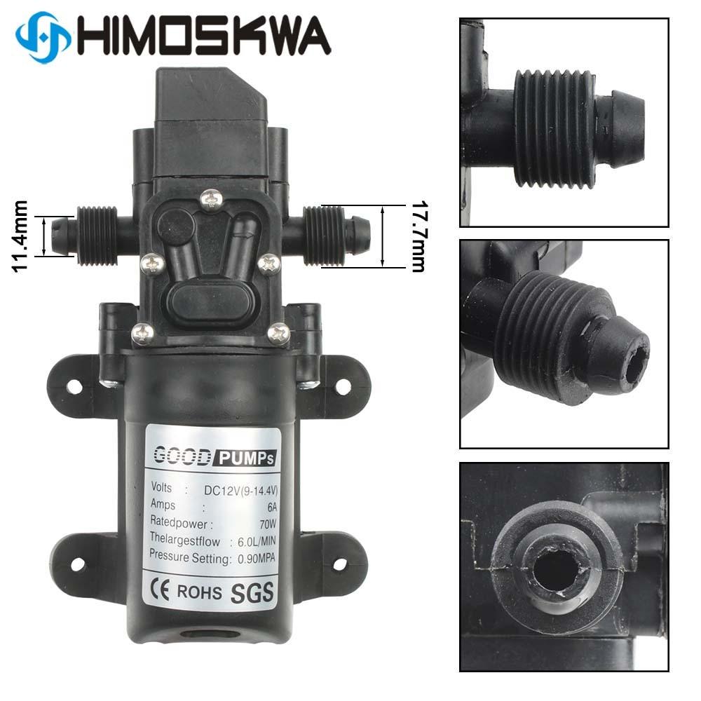 DC 12V 130PSI 6L/Min Water High Pressure Diaphragm Self Priming Pump 70W With Screw