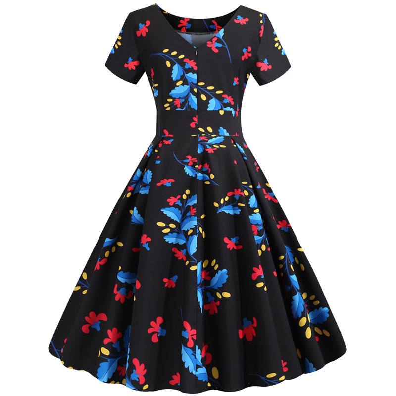 Summer Floral Print Elegant A-line Party Dress Women Slim White Short Sleeve Swing Pin up Vintage Dresses Plus Size Robe Femme 284