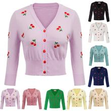 Belle Poque 8 colors cardigan women Cherries Embroidery Sweater cardigan women  V-Neck knited 2019 winter pull sweater femme
