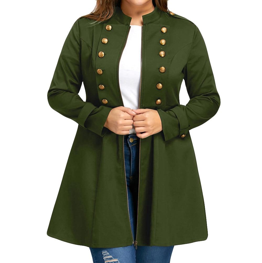 SAGACE Ladies Large Size Solid Color Retro Double-breasted Waist High Waist Long Sleeve Large Swing Zipper Windbreaker Jacket