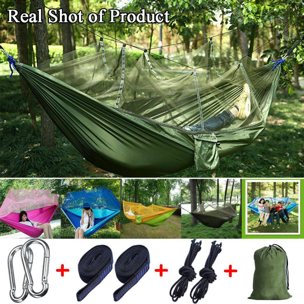 Parachute Hammock Backpacking Mosquito-Net Sleeping-Bed Hanging Travel Beach-260x140cm