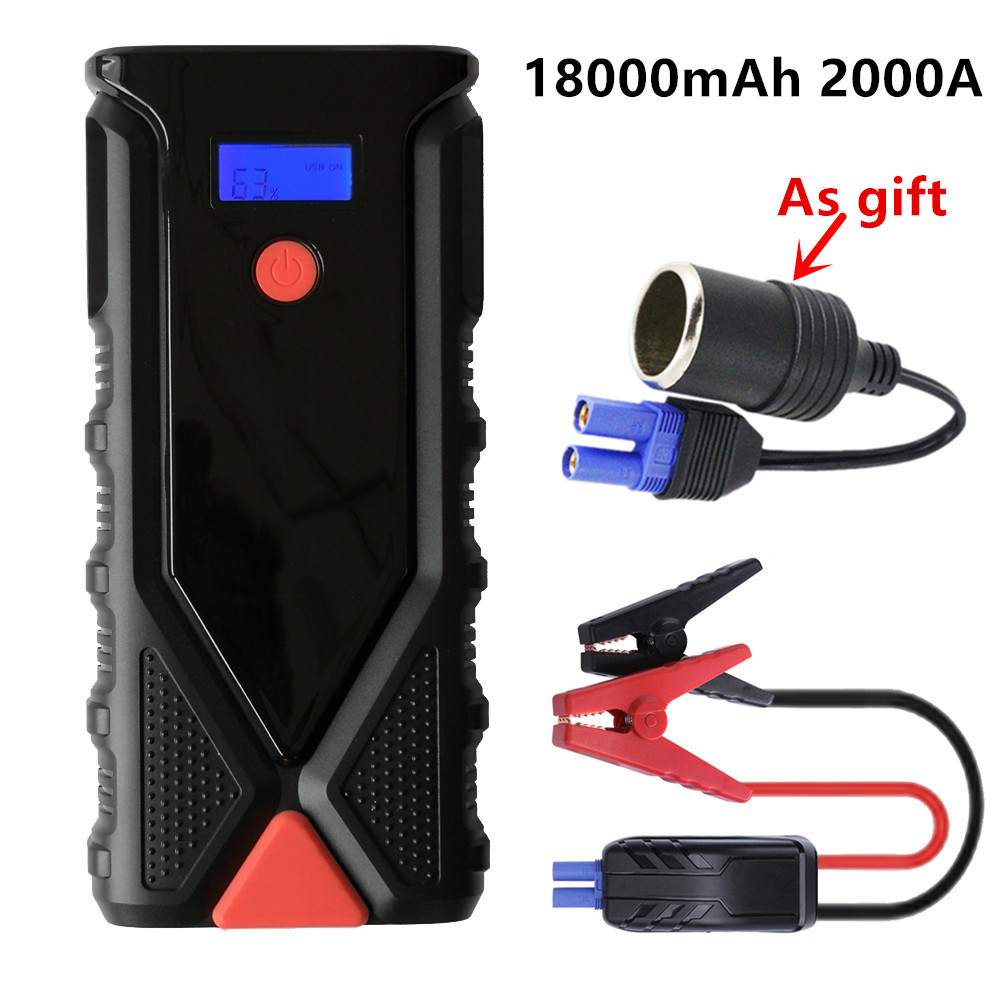 Emergency 12V 2000A Car Jump Starter 18000mAh Portable Starting Device Power Bank Car Battery Charger Booster For Petrol Diesel