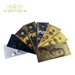 8 шт./лот все типы банкнот из американского золота 100 долларов США Золотая фольга для банкнот поддельные деньги для коллекционных подарков