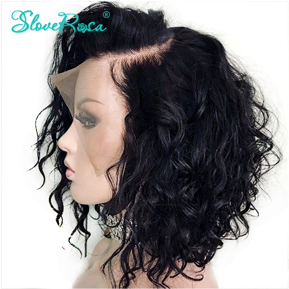 Human-Hair-Wig-Short Rosa-Hair Bob-Wigs Side-Part Curly Lace-Front Slove Women Peruvian
