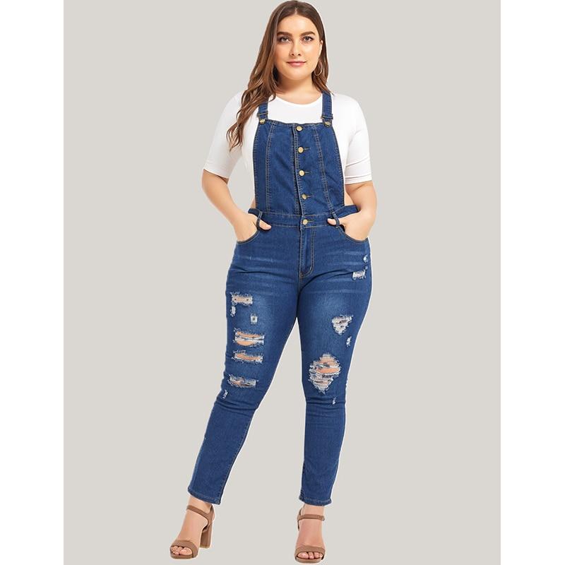 Women Plus Size Jumpsuits Denim Blue Strap Ladies Jean Bodysuits Overalls Large Size Female Bib Pants Body Jeans Rompers 5XL D40